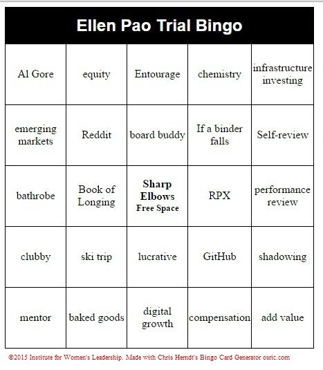 Ellen Pao Bingo cards